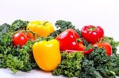 Zielonej sałatki liście i warzywa, Zdrowy stylu życia pojęcie Obraz Stock