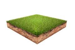 Zielonej trawy ziemi kawałek odizolowywający na białym tle ilustracji