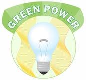 Zielonej władzy okręgu etykietka z żarówką Zdjęcia Royalty Free