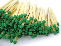 zieloni odizolowane zapałki Fotografia Stock