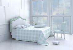 Zielony łóżkowy pokój na szczęśliwym dniu obraz stock