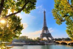 Zielony światło słoneczne Eiffel Obraz Royalty Free
