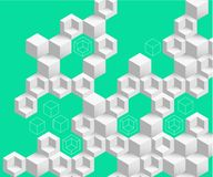 Zielony abstrakcjonistyczny tło z białym geometrycznym wzorem ilustracja wektor