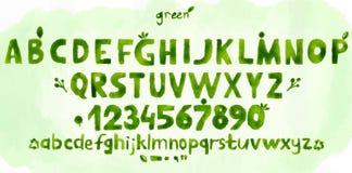 Zielony akwareli abecadło pociągany ręcznie Obraz Royalty Free