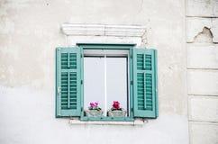 Zielony antykwarski okno z garnków kwiatami Obraz Royalty Free