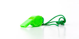 Zielony arbitra gwizd, sporta temat Obrazy Royalty Free