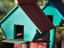 Zielony błękit menchii Birdhouse Fotografia Stock