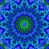 Zielony błękitny kalejdoskop Ilustracji