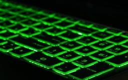 Zielony backlight, backlit na hazard?w laptopach obraz royalty free