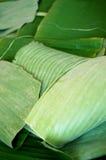Zielony banan opuszcza teksturę Zdjęcie Royalty Free