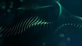 Zielony bezszwowy abstrakcjonistyczny tło z cząsteczkami Wirtualna przestrzeń z głębią pole, łuna błyska i cyfrowi elementy zdjęcie wideo