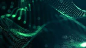 Zielony bezszwowy abstrakcjonistyczny tło z cząsteczkami Wirtualna przestrzeń z głębią pole, łuna błyska i cyfrowi elementy zbiory wideo