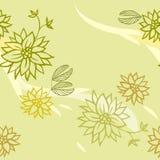 Zielony bezszwowy wzór z kwiatami Fotografia Stock