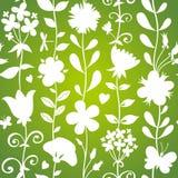 Zielony bezszwowy wzór z kwiatami, motylami i dragonflies. ilustracji
