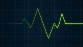 Zielony bicie serca puls na kardiograma ekranie, EKG ECG opieki zdrowotnej cardio pojęcie ilustracja wektor