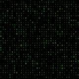 Zielony binar komputerowego kodu wektoru tło royalty ilustracja