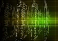 Zielony binarny kod na czerni Zdjęcia Stock