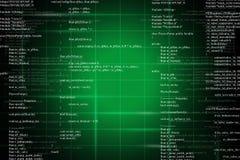 Zielony binarny kod na czerni Obraz Stock