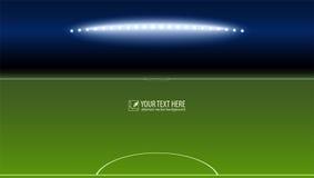 Zielony boisko do piłki nożnej od bramkarza terenu z światłami reflektorów z przestrzenią dla twój wiadomości lub teksta zaświeca ilustracja wektor