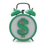 Zielony budzik z dolarowym symbolem na clockface Czas jest pieniądze Zdjęcia Royalty Free