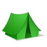 Zielony Campingowy namiot. Wektorowa ilustracja Zdjęcia Stock