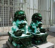 Zielony chabet jest Kamiennym lwa statu? obraz royalty free