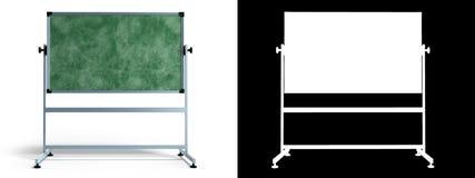 Zielony chalkboard z metal ramą 3d odpłaca się na bielu z alfą Obrazy Stock