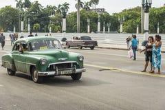 Zielony Chevy taxi Hawański Zdjęcia Royalty Free