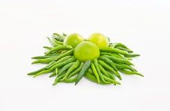Zielony chili i cytryna Zdjęcie Royalty Free