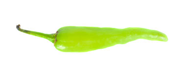 Zielony chili odizolowywający na białym tle, odgórny widok Obraz Royalty Free