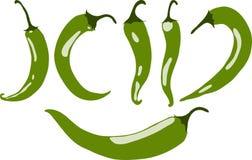 Zielony chili pieprz, ilustracja, Zdjęcie Royalty Free