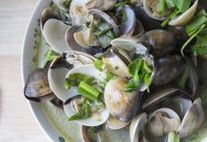 Zielony chili smażył Emaliowego Wenus Shell lub Mussel Fotografia Stock