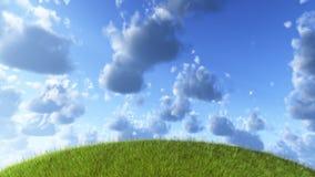 zielony cloudscape wzgórze ilustracji