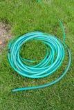 Zielony coiled gumowy wąż elastyczny przy gazonem Obrazy Stock