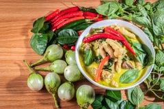 Zielony curry Chickenon fotografia royalty free