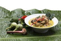 Zielony curry z Świeżej ryba BallsThai językiem jest Kaeng khiao bladym obrazy royalty free