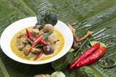 Zielony curry z Świeżej ryba BallsThai językiem jest Kaeng khiao bladym obraz stock