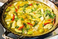 Zielony curry z kurczakiem, Tajlandzki jedzenie Zdjęcie Royalty Free