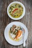 Zielony curry z ryż Obraz Stock