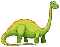 Zielony dinosaur z długą szyją ilustracji