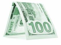 Zielony dolar składał w połówce, pieniądze buda, waluta kąt odizolowywający Obraz Stock