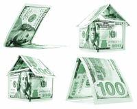 Zielony dolara dom, buda, osacza set odizolowywającego na białym tle Fotografia Royalty Free