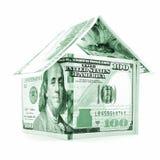 Zielony dolara dom, pieniądze nieruchomość odizolowywająca na białym tle Obrazy Royalty Free