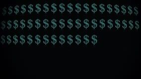 Zielony dolarowego znaka szybki pisać na maszynie na starej wyginającej się dowodzonej lcd pokazu animaci tła pętli - nowej ilośc royalty ilustracja