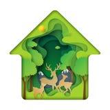 Zielony dom deers rodzinni z natury pojęcia papieru sztuki backgr Zdjęcie Royalty Free