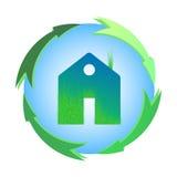 Zielony dom, domowa ikona, życiorys ekologia, odizolowywająca Zdjęcia Stock