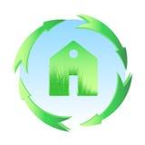 Zielony dom, domowa ikona, życiorys ekologia, odizolowywająca Obrazy Stock