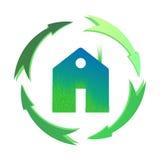 Zielony dom, domowa ikona, życiorys ekologia, odizolowywająca Fotografia Stock