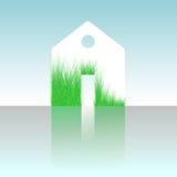 Zielony dom, domowa ikona, życiorys ekologia, odizolowywająca Obraz Stock