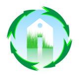 Zielony dom, domowa ikona, życiorys ekologia, wektor odizolowywający Obraz Royalty Free